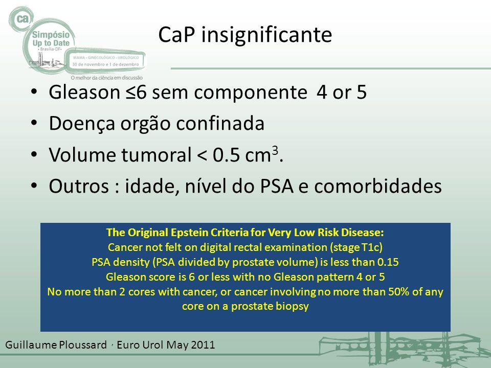 CaP insignificante Gleason ≤6 sem componente 4 or 5