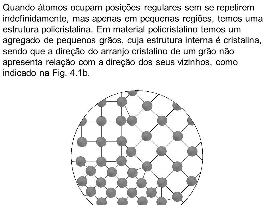 Quando átomos ocupam posições regulares sem se repetirem indefinidamente, mas apenas em pequenas regiões, temos uma estrutura policristalina. Em material policristalino temos um agregado de pequenos grãos, cuja estrutura interna é cristalina,