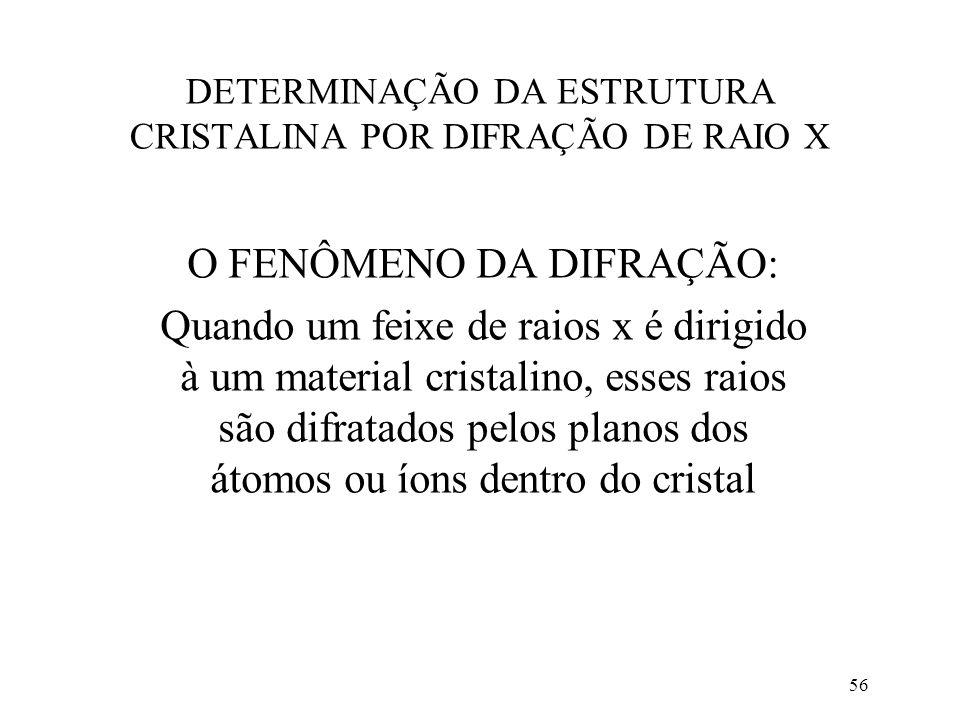 DETERMINAÇÃO DA ESTRUTURA CRISTALINA POR DIFRAÇÃO DE RAIO X