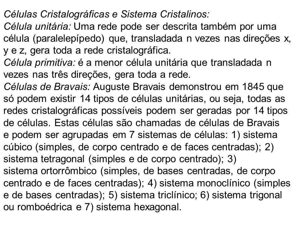 Células Cristalográficas e Sistema Cristalinos: