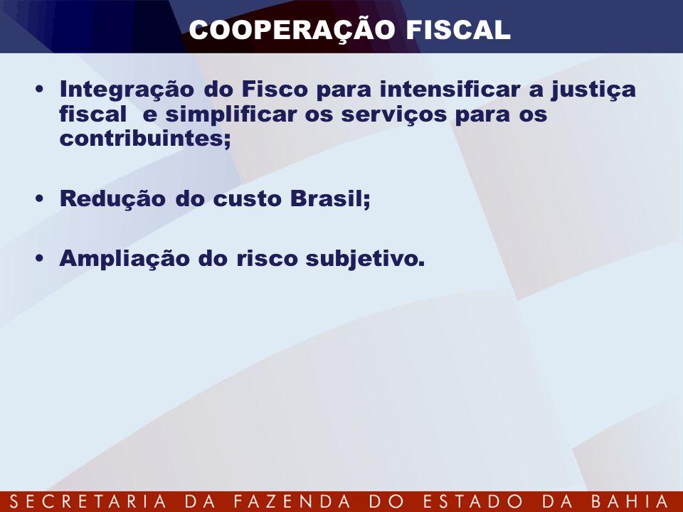 COOPERAÇÃO FISCAL Integração do Fisco para intensificar a justiça fiscal e simplificar os serviços para os contribuintes;