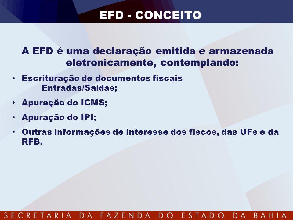 EFD - CONCEITO A EFD é uma declaração emitida e armazenada eletronicamente, contemplando: Escrituração de documentos fiscais Entradas/Saídas;