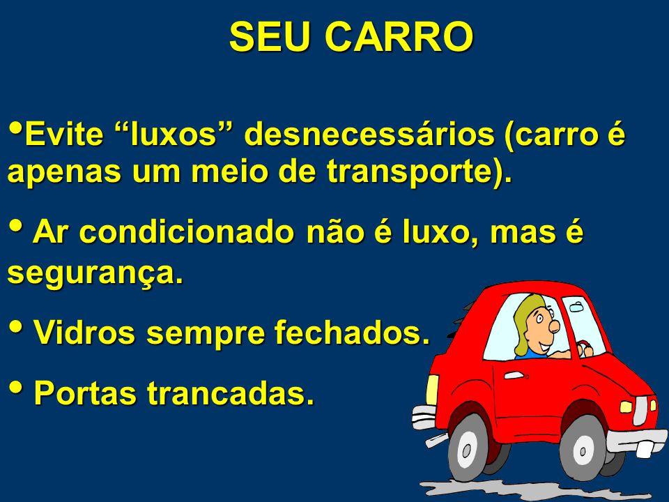 SEU CARRO Evite luxos desnecessários (carro é apenas um meio de transporte). Ar condicionado não é luxo, mas é segurança.
