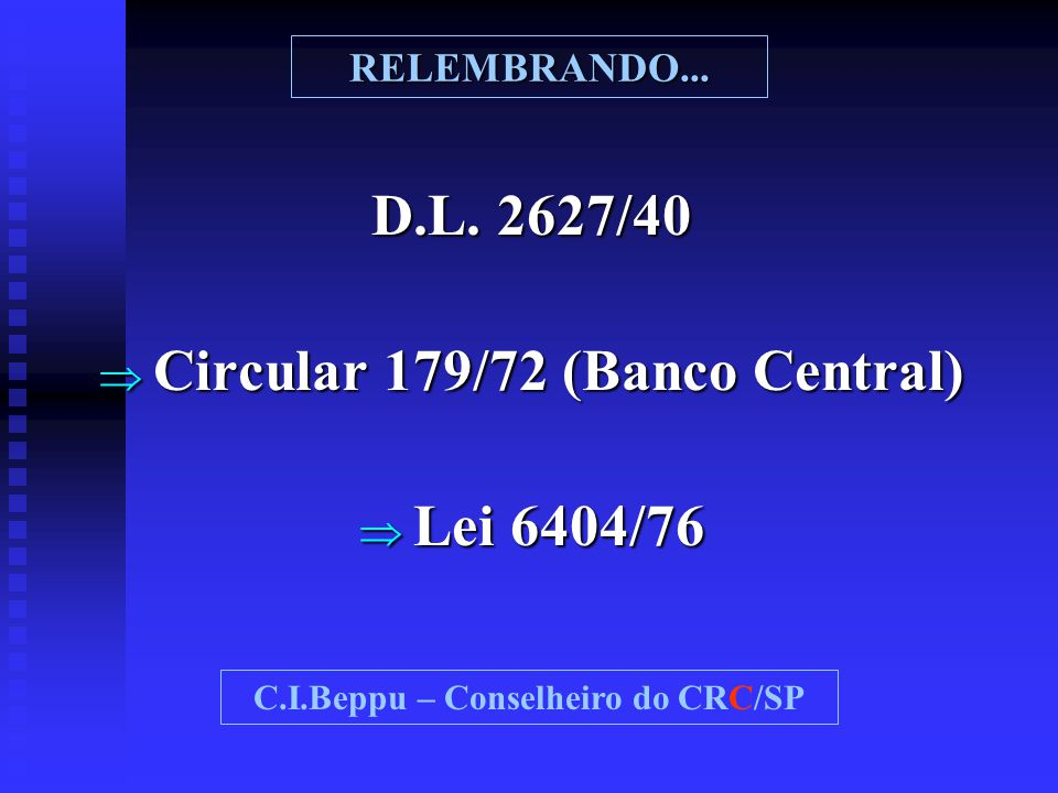 Circular 179/72 (Banco Central) C.I.Beppu – Conselheiro do CRC/SP