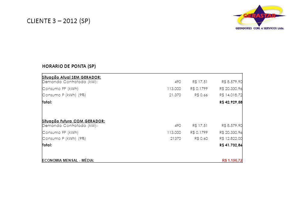 CLIENTE 3 – 2012 (SP) HORARIO DE PONTA (SP)