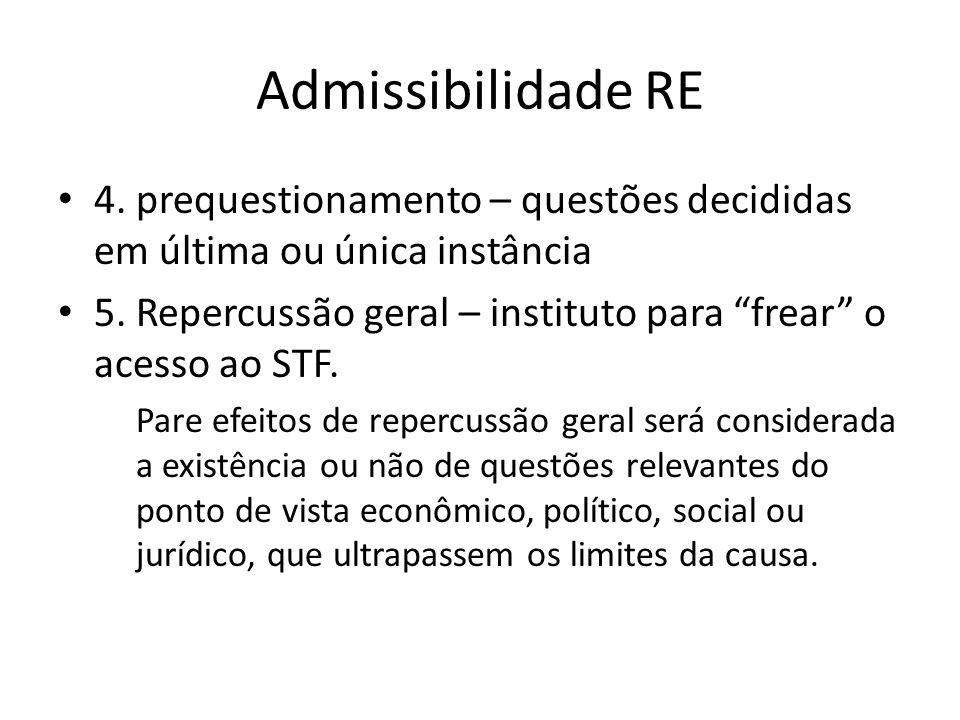 Admissibilidade RE 4. prequestionamento – questões decididas em última ou única instância.