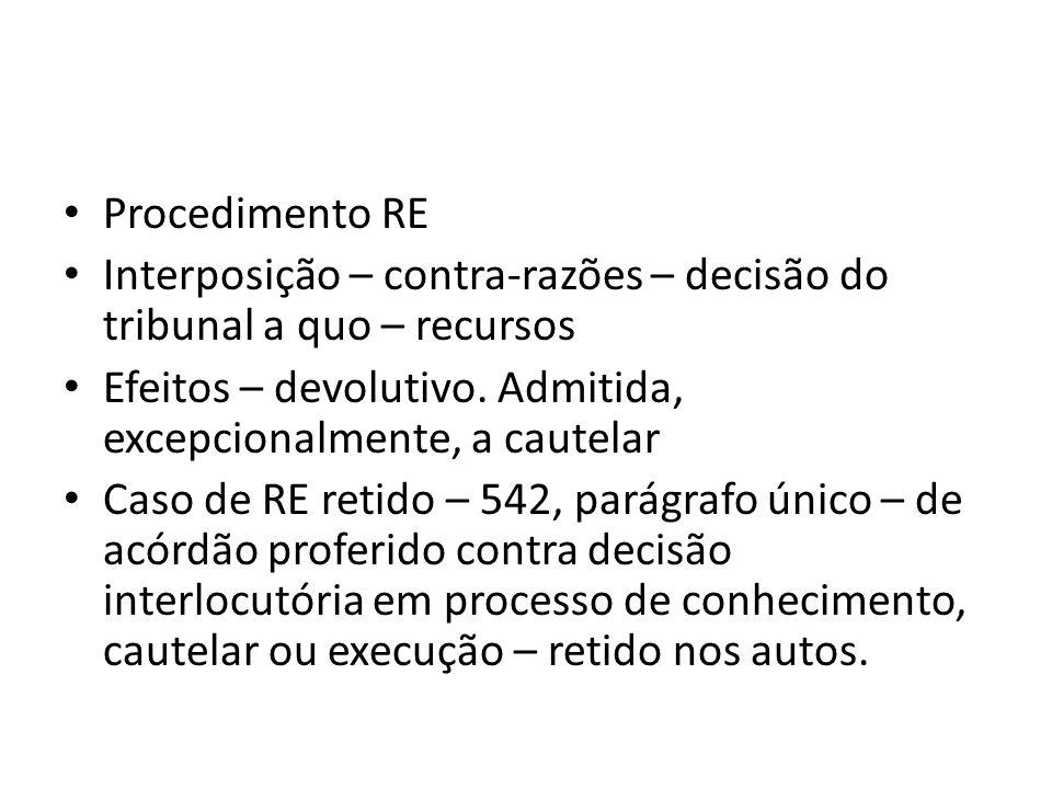 Procedimento RE Interposição – contra-razões – decisão do tribunal a quo – recursos. Efeitos – devolutivo. Admitida, excepcionalmente, a cautelar.