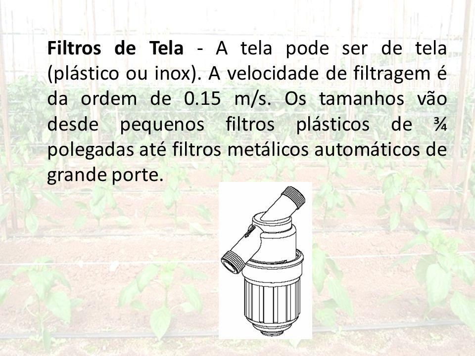 Filtros de Tela - A tela pode ser de tela (plástico ou inox)