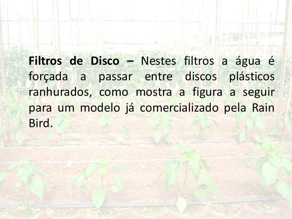 Filtros de Disco – Nestes filtros a água é forçada a passar entre discos plásticos ranhurados, como mostra a figura a seguir para um modelo já comercializado pela Rain Bird.