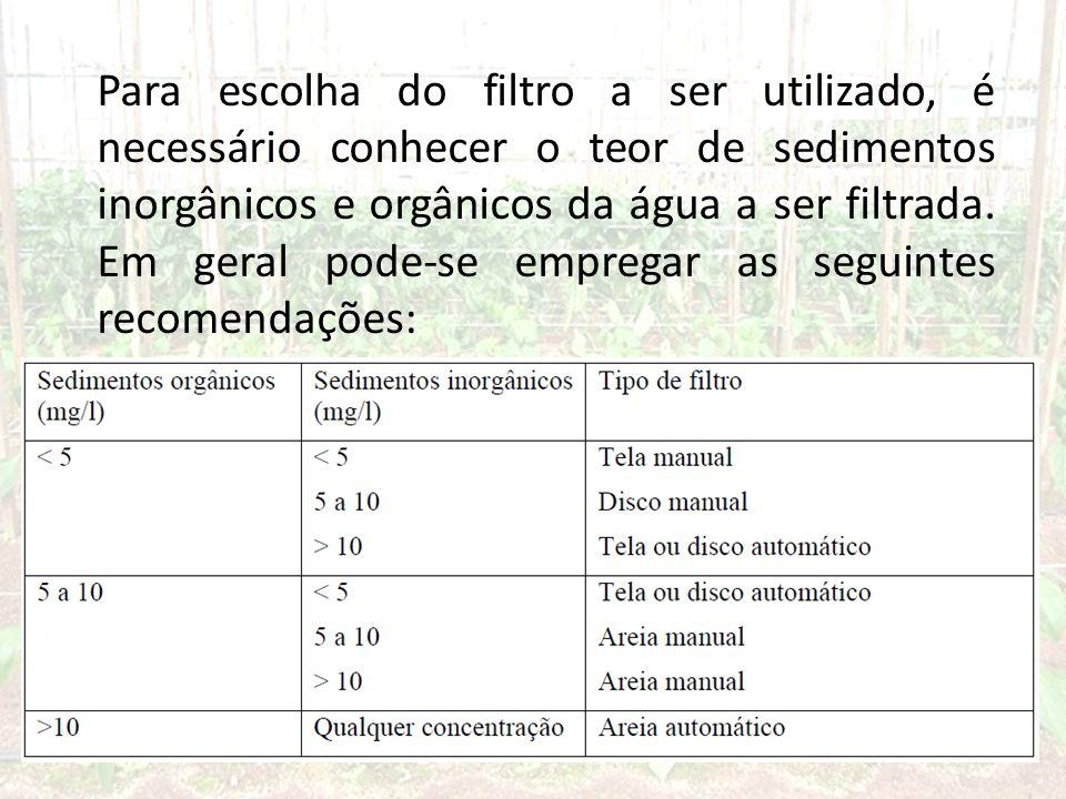 Para escolha do filtro a ser utilizado, é necessário conhecer o teor de sedimentos inorgânicos e orgânicos da água a ser filtrada.