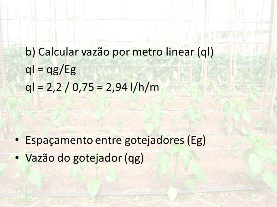 b) Calcular vazão por metro linear (ql)
