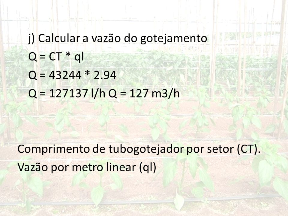 j) Calcular a vazão do gotejamento Q = CT. ql Q = 43244. 2