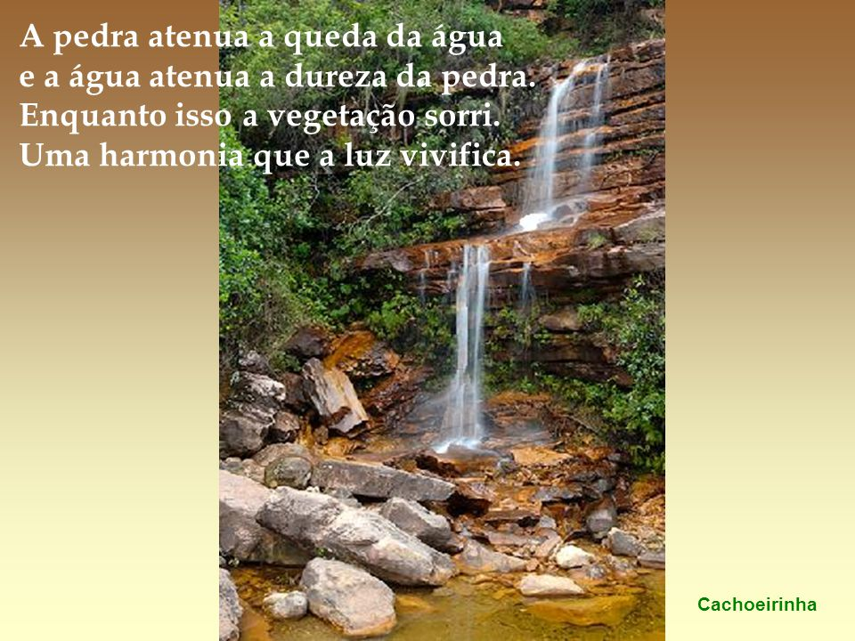 A pedra atenua a queda da água e a água atenua a dureza da pedra.