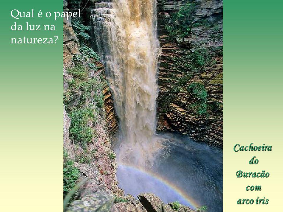 Qual é o papel da luz na natureza Cachoeira do Buracão com arco íris