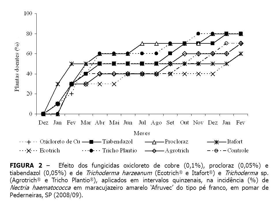 FIGURA 2 – Efeito dos fungicidas oxicloreto de cobre (0,1%), procloraz (0,05%) e tiabendazol (0,05%) e de Trichoderma harzeanum (Ecotrich® e Itafort®) e Trichoderma sp.