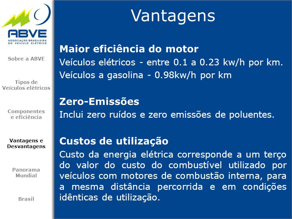 Vantagens Maior eficiência do motor Zero-Emissões Custos de utilização