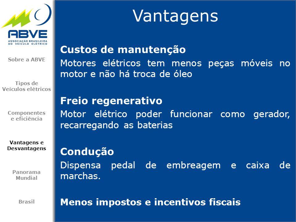 Vantagens Custos de manutenção Freio regenerativo Condução