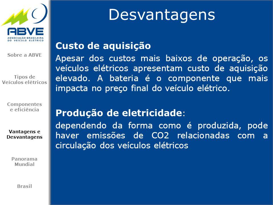 Desvantagens Custo de aquisição Produção de eletricidade: