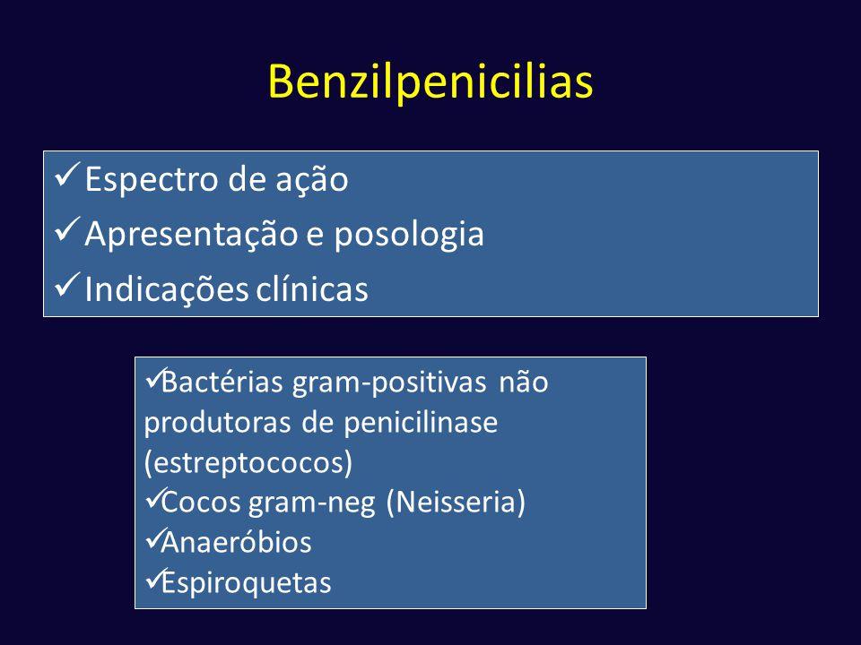 Benzilpenicilias Espectro de ação Apresentação e posologia