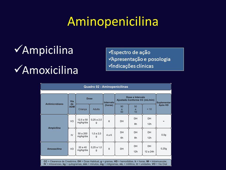 Aminopenicilina Ampicilina Amoxicilina Espectro de ação