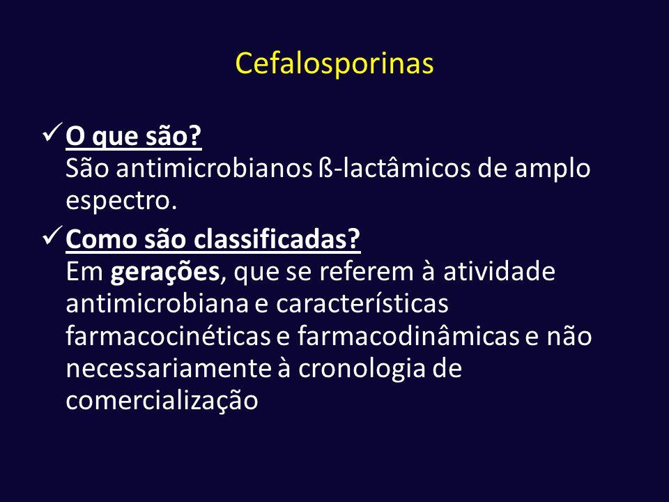 Cefalosporinas O que são São antimicrobianos ß-lactâmicos de amplo espectro.