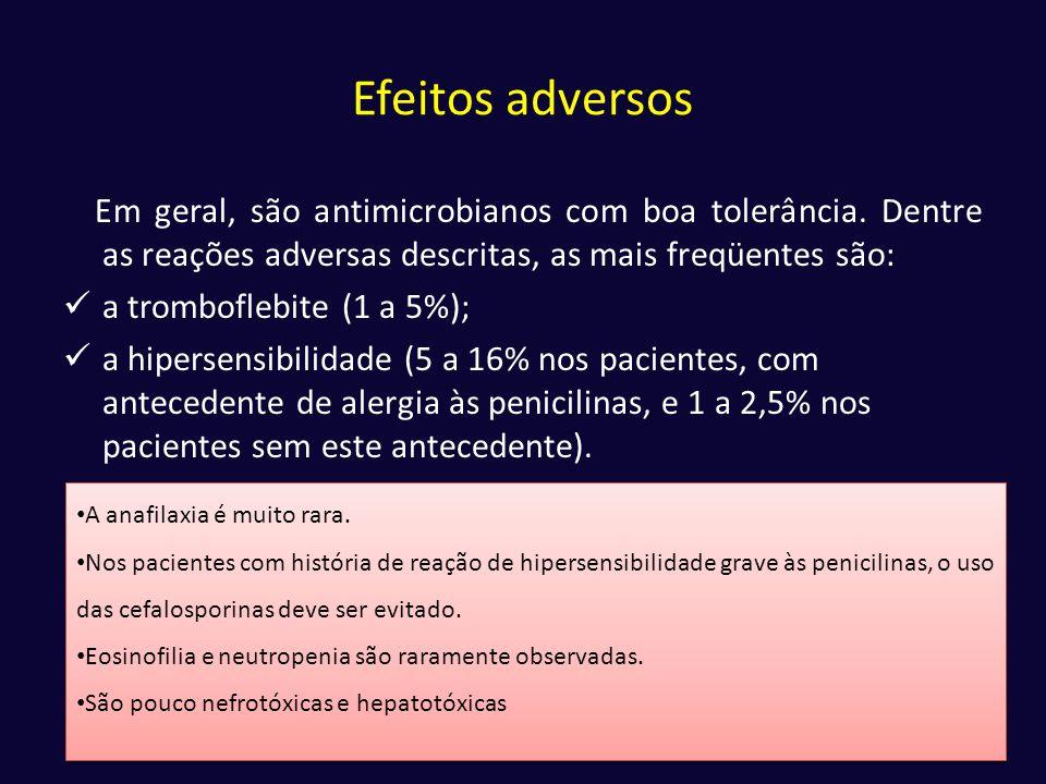 Efeitos adversos Em geral, são antimicrobianos com boa tolerância. Dentre as reações adversas descritas, as mais freqüentes são: