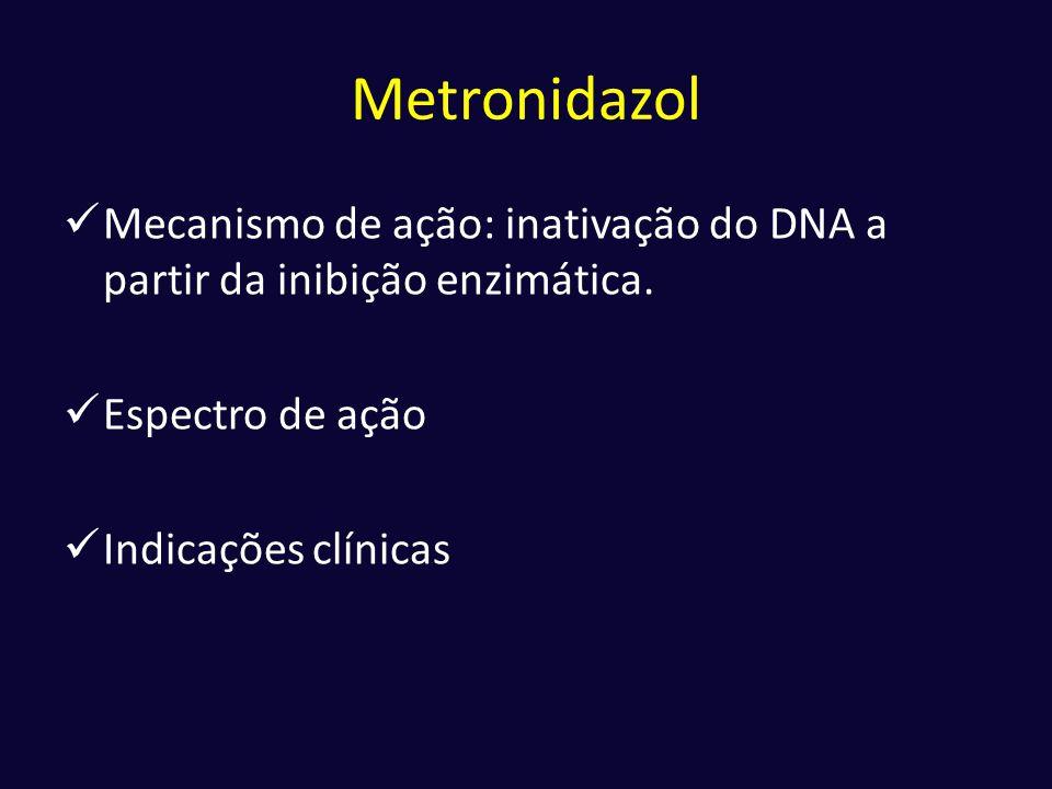 Metronidazol Mecanismo de ação: inativação do DNA a partir da inibição enzimática. Espectro de ação.