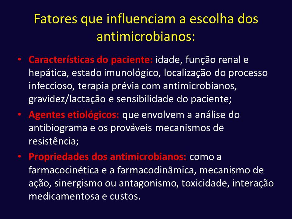 Fatores que influenciam a escolha dos antimicrobianos: