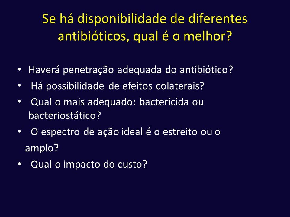 Se há disponibilidade de diferentes antibióticos, qual é o melhor
