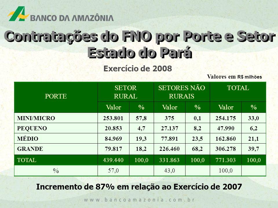 Contratações do FNO por Porte e Setor Estado do Pará