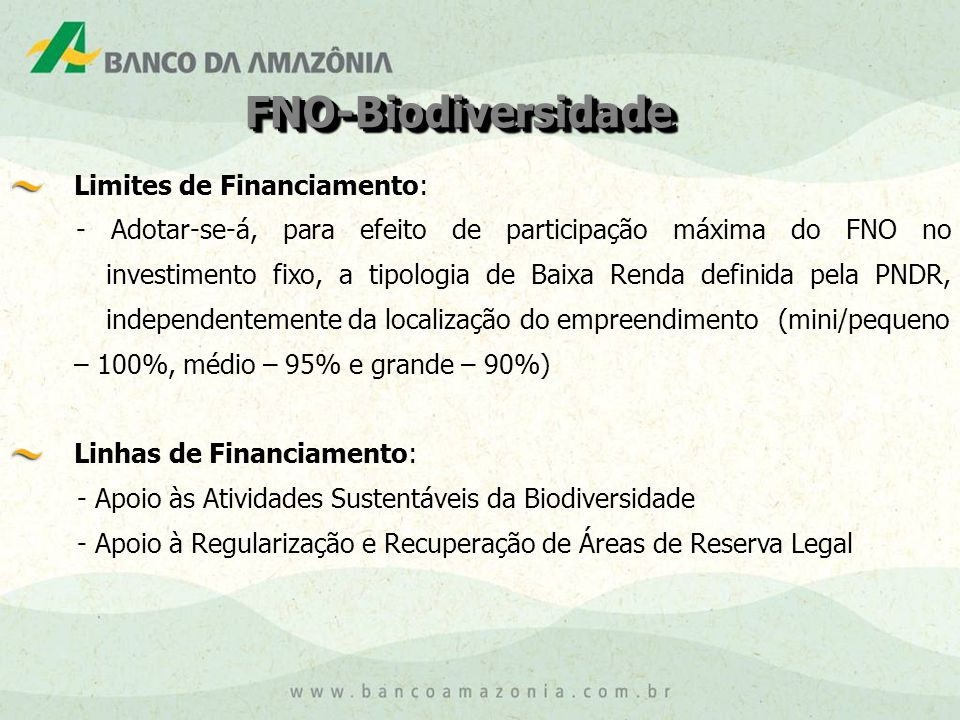 FNO-Biodiversidade Limites de Financiamento:
