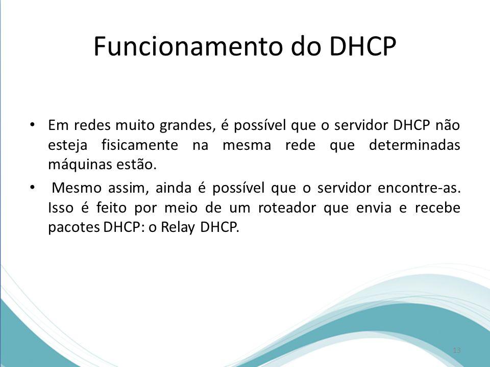 Funcionamento do DHCP Em redes muito grandes, é possível que o servidor DHCP não esteja fisicamente na mesma rede que determinadas máquinas estão.