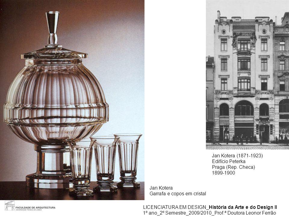 Jan Kotera (1871-1923) Edifício Peterka. Praga (Rep. Checa) 1899-1900. Jan Kotera. Garrafa e copos em cristal.