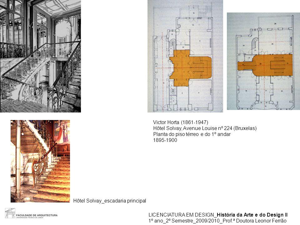 Victor Horta (1861-1947) Hôtel Solvay, Avenue Louise nº 224 (Bruxelas) Planta do piso térreo e do 1º andar.