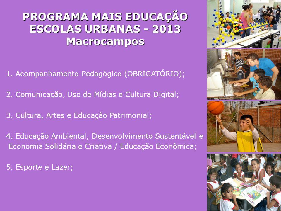 PROGRAMA MAIS EDUCAÇÃO ESCOLAS URBANAS - 2013 Macrocampos