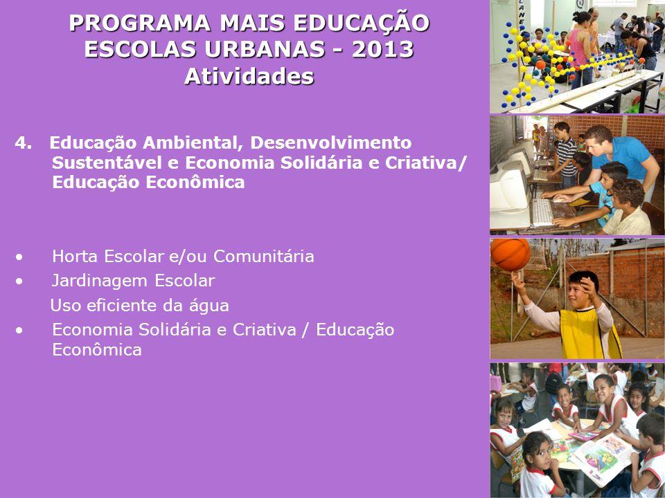 PROGRAMA MAIS EDUCAÇÃO ESCOLAS URBANAS - 2013
