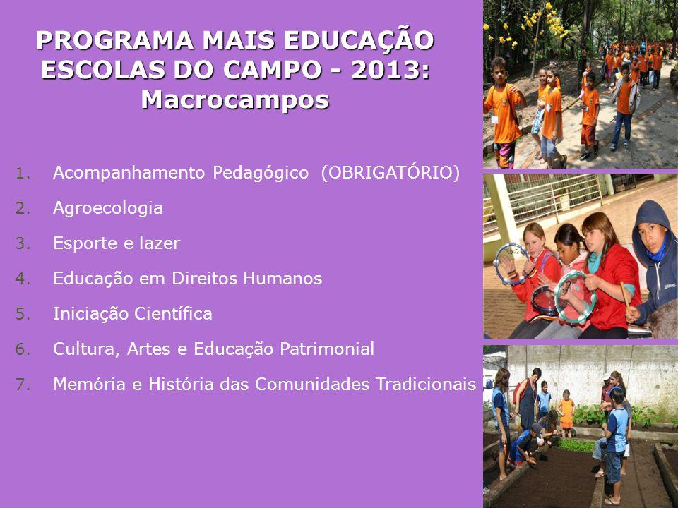 PROGRAMA MAIS EDUCAÇÃO ESCOLAS DO CAMPO - 2013: Macrocampos