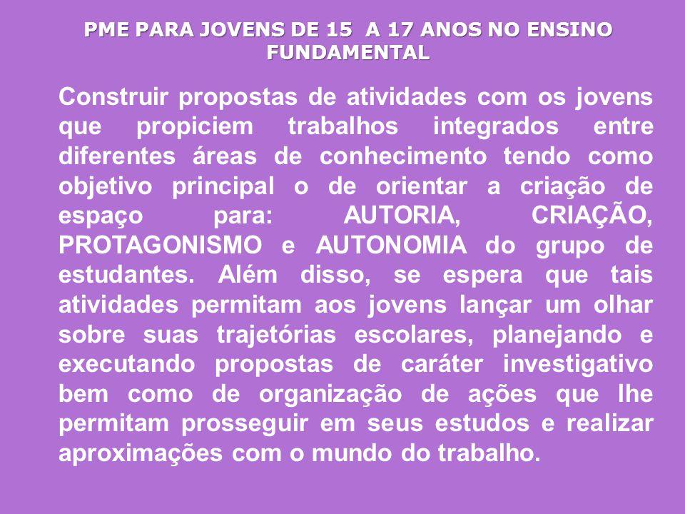 PME PARA JOVENS DE 15 A 17 ANOS NO ENSINO FUNDAMENTAL