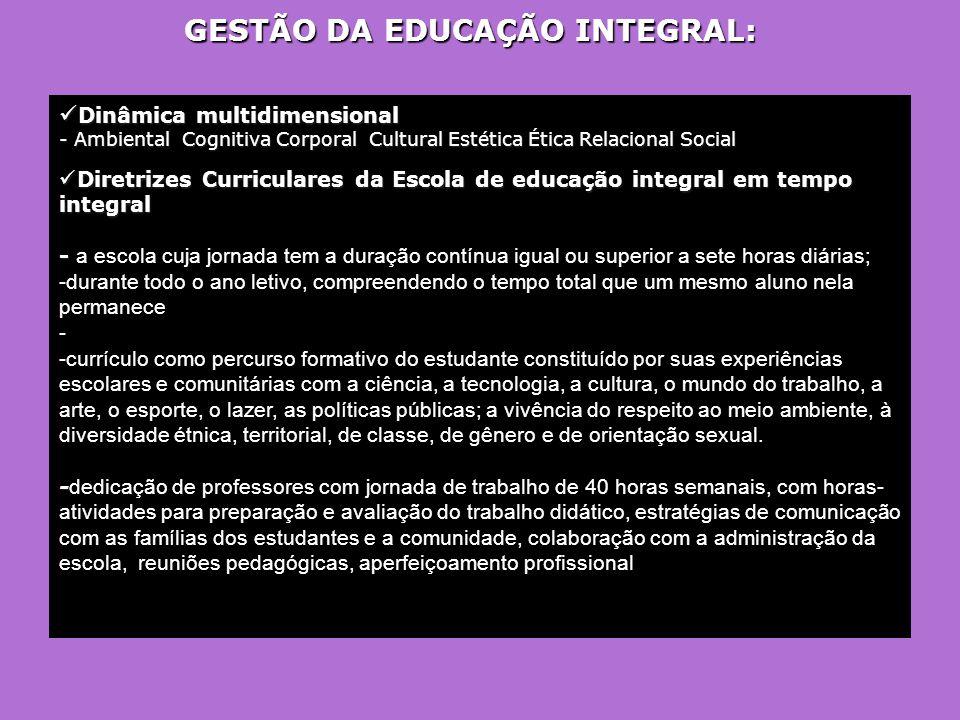 GESTÃO DA EDUCAÇÃO INTEGRAL: