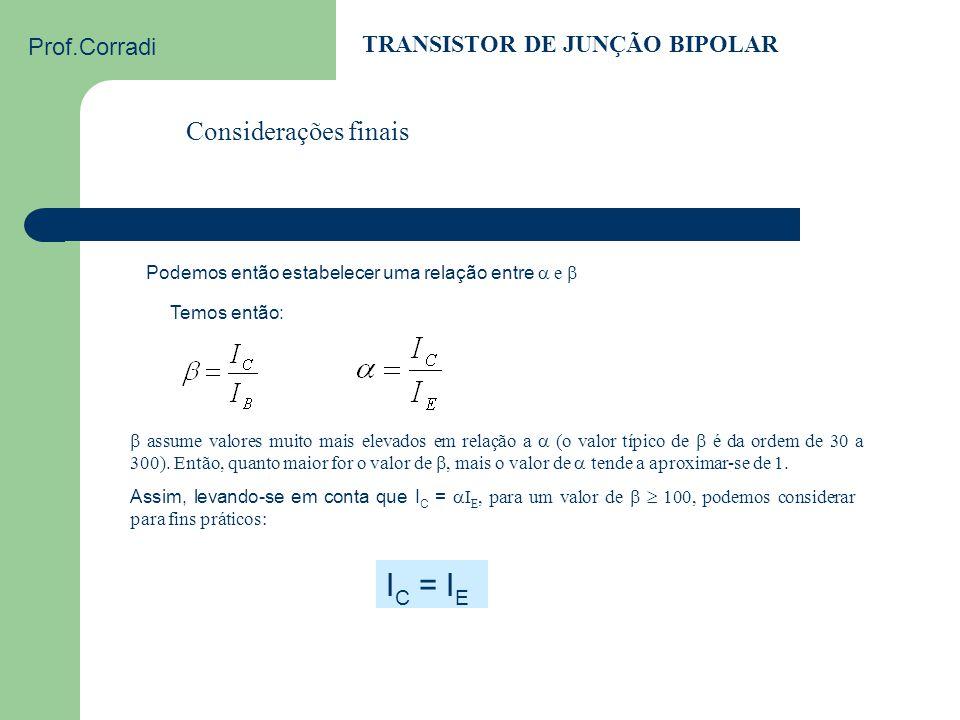 IC = IE Considerações finais TRANSISTOR DE JUNÇÃO BIPOLAR