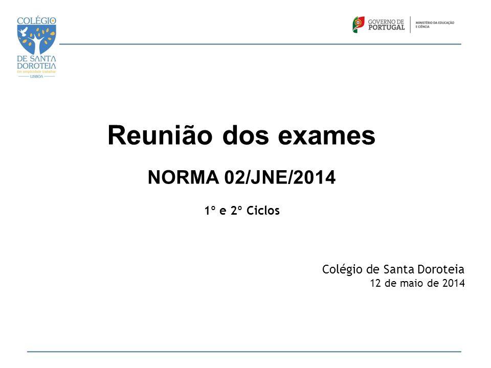 Reunião dos exames NORMA 02/JNE/2014 1º e 2º Ciclos