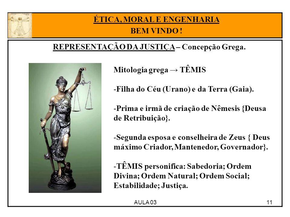 ÉTICA, MORAL E ENGENHARIA REPRESENTAÇÃO DA JUSTIÇA – Concepção Grega.