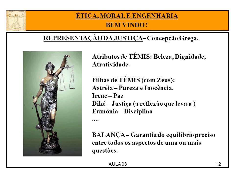 ÉTICA, MORAL E ENGENHARIA REPRESENTAÇÃO DA JUSTIÇA– Concepção Grega.