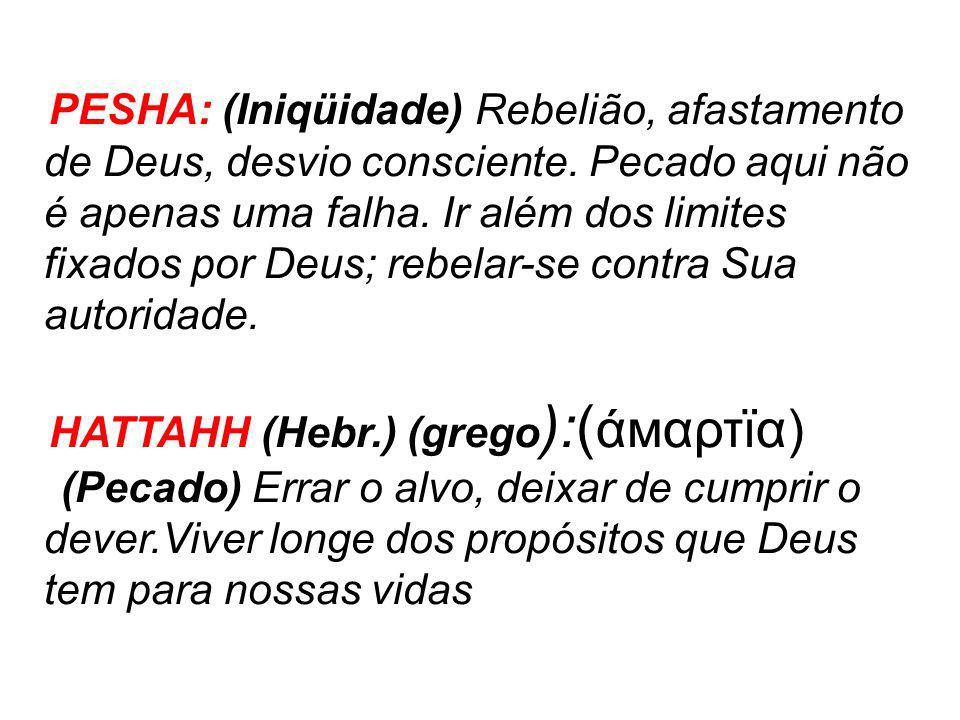 PESHA: (Iniqüidade) Rebelião, afastamento de Deus, desvio consciente