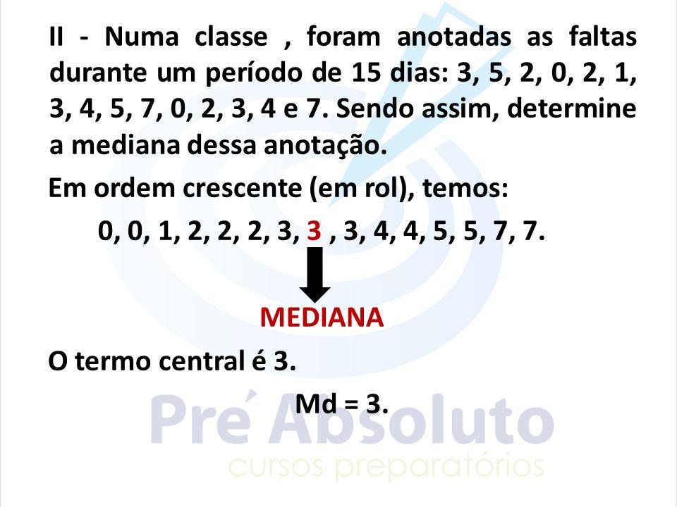 II - Numa classe , foram anotadas as faltas durante um período de 15 dias: 3, 5, 2, 0, 2, 1, 3, 4, 5, 7, 0, 2, 3, 4 e 7.