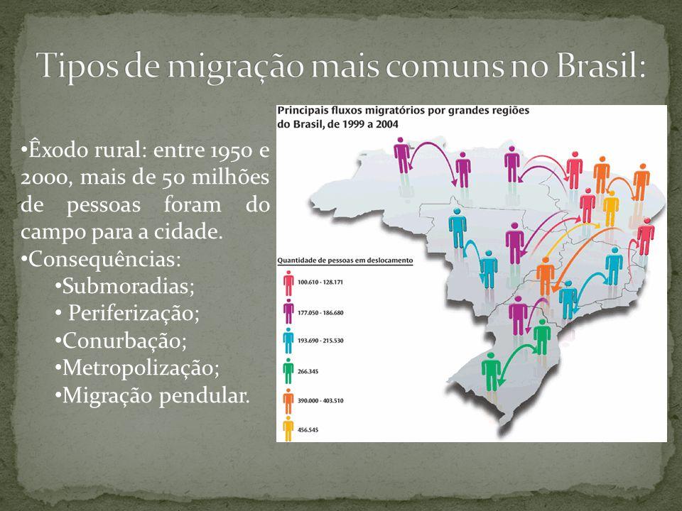 Tipos de migração mais comuns no Brasil: