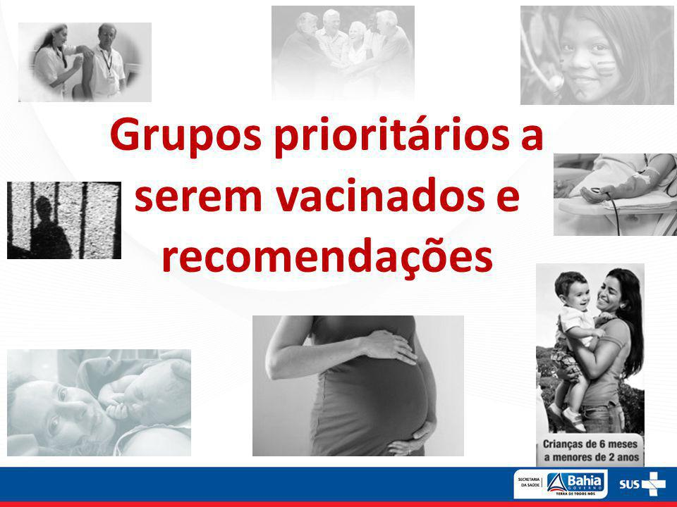 Grupos prioritários a serem vacinados e recomendações