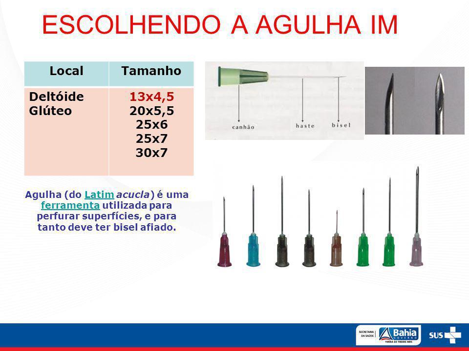 ESCOLHENDO A AGULHA IM Local Tamanho Deltóide Glúteo 13x4,5 20x5,5
