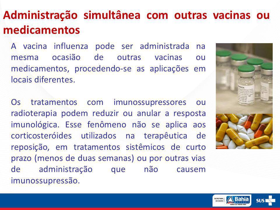 Administração simultânea com outras vacinas ou medicamentos