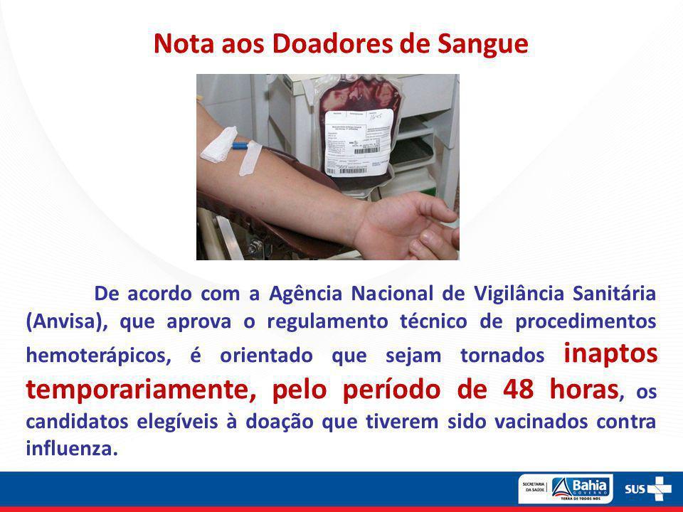 Nota aos Doadores de Sangue